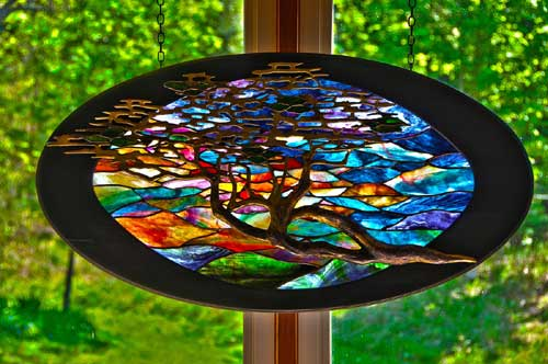 Tree at Sunset by Stained Glass Artist Yvonne DeViller