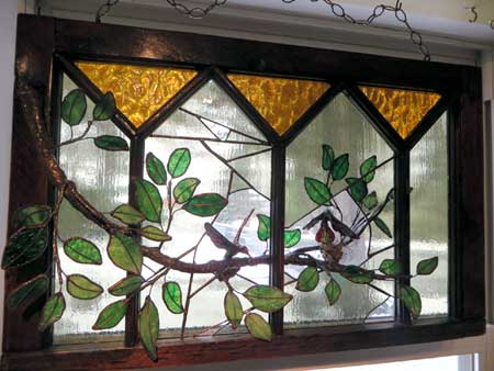 For the love of hummingbirds by Stained Glass Artist Yvonne DeViller