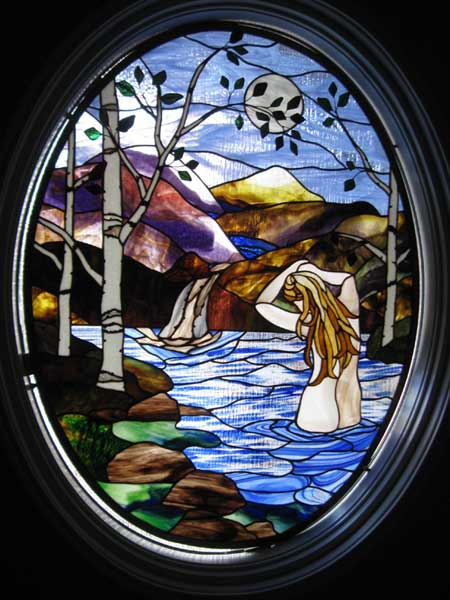 Water Nymph in their Eye_ris by Stained Glass Artist Yvonne DeViller