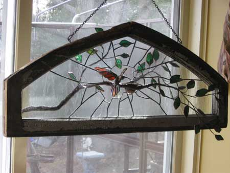 Hummingbird Nest  Sold  by Stained Glass Artist Yvonne DeViller