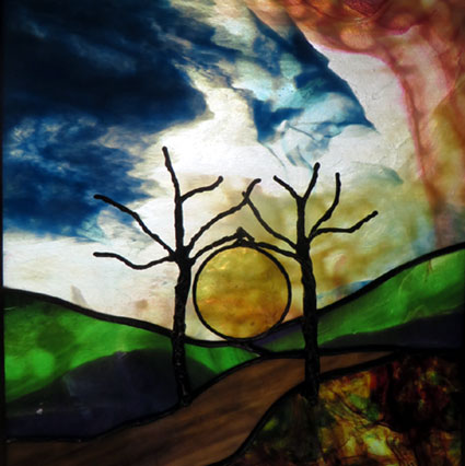 Meandering repro by Stained Glass Artist Yvonne DeViller