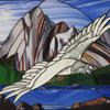 Maligne Lake Harris  tribute by Stained Glass Artist Yvonne DeViller