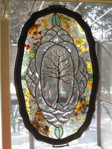 Tree in Tray Frame by Stained Glass Artist Yvonne DeViller