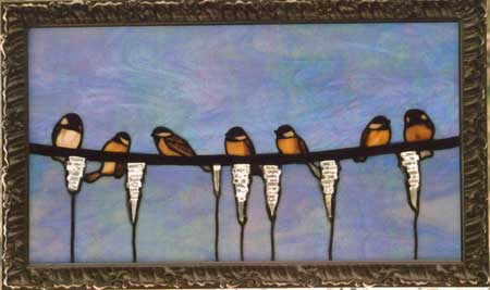 Chickadees playing on the Line by Stained Glass Artist Yvonne DeViller