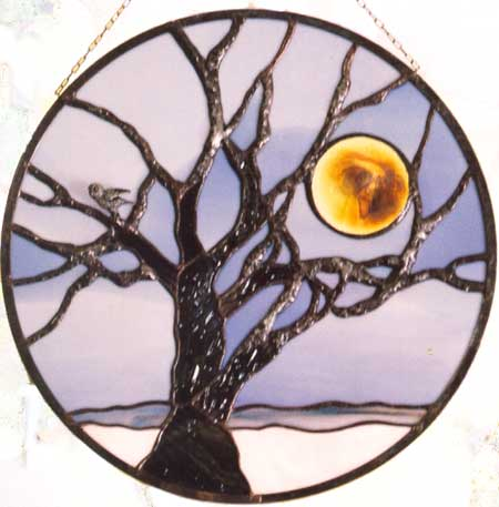 Winter Tree with Moon by Stained Glass Artist Yvonne DeViller