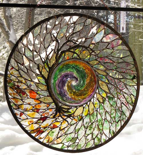 Geode Tree tribute Stained Glass Artist Yvonne DeViller