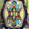 Victorian pattern in antique Tray Frame by Stained Glass Artist Yvonne DeViller